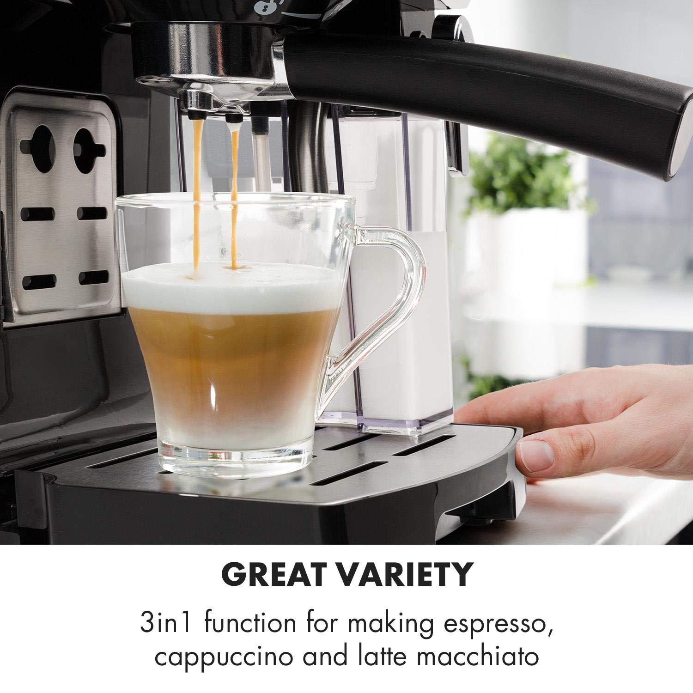 Klarstein BellaVita • Máquina de café • 3 en 1 para espresso, capuccino y latte macchiato • 0,4 l espumadora de leche • 1450 W • 20 bares • Depósito de 1,4 ...