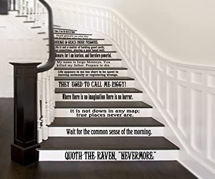 GMDdecals Classic Literature Book Quotes Set Of 12 Wall Or Stairs Vinyl  Decals [GLOSSY BLACK