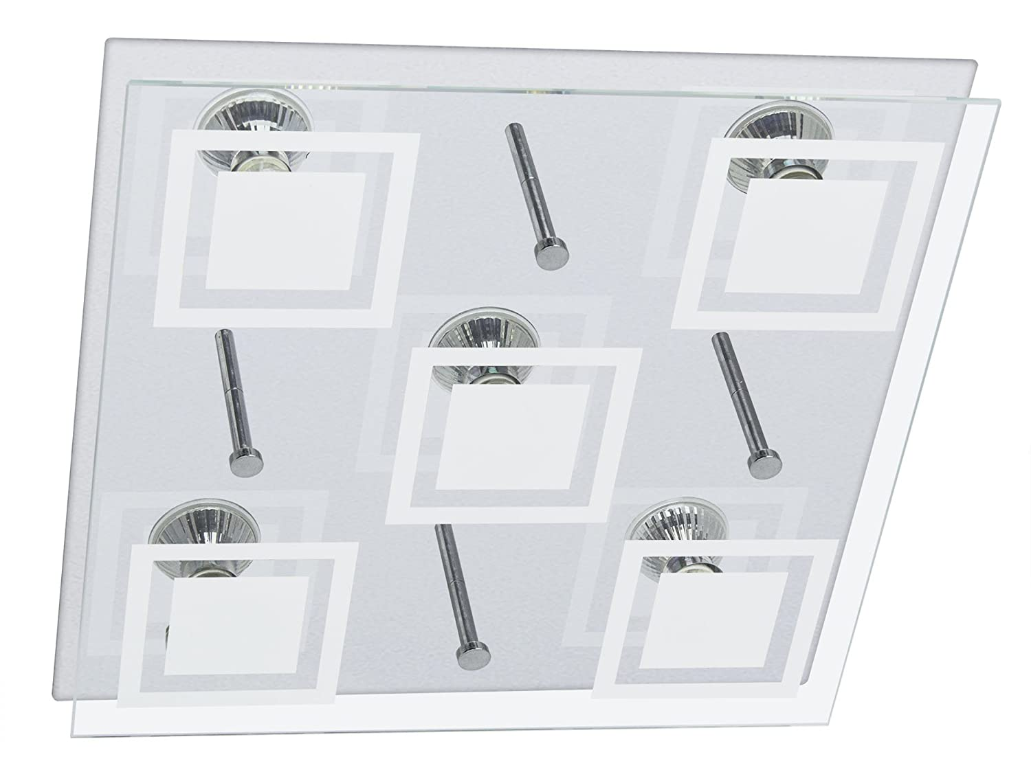 LED glass ceiling lamp square incl . 5x 5.0 Watt LED module directly 230V Trango TG3153 [Energy Class A+]