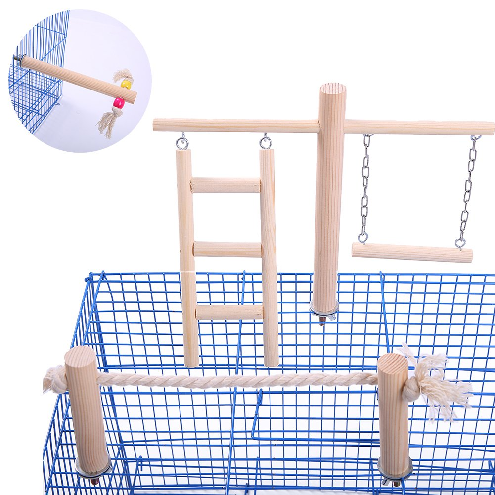QBLEEV Wooden Bird Toys Set Placed in on The Birdcage,Parred Swing Ladder Stand Bar Rope Toy,Non-Toxic Chewing Training Playground for Small and Medium Birds Parakeet Budgies(No Birdcage Included)