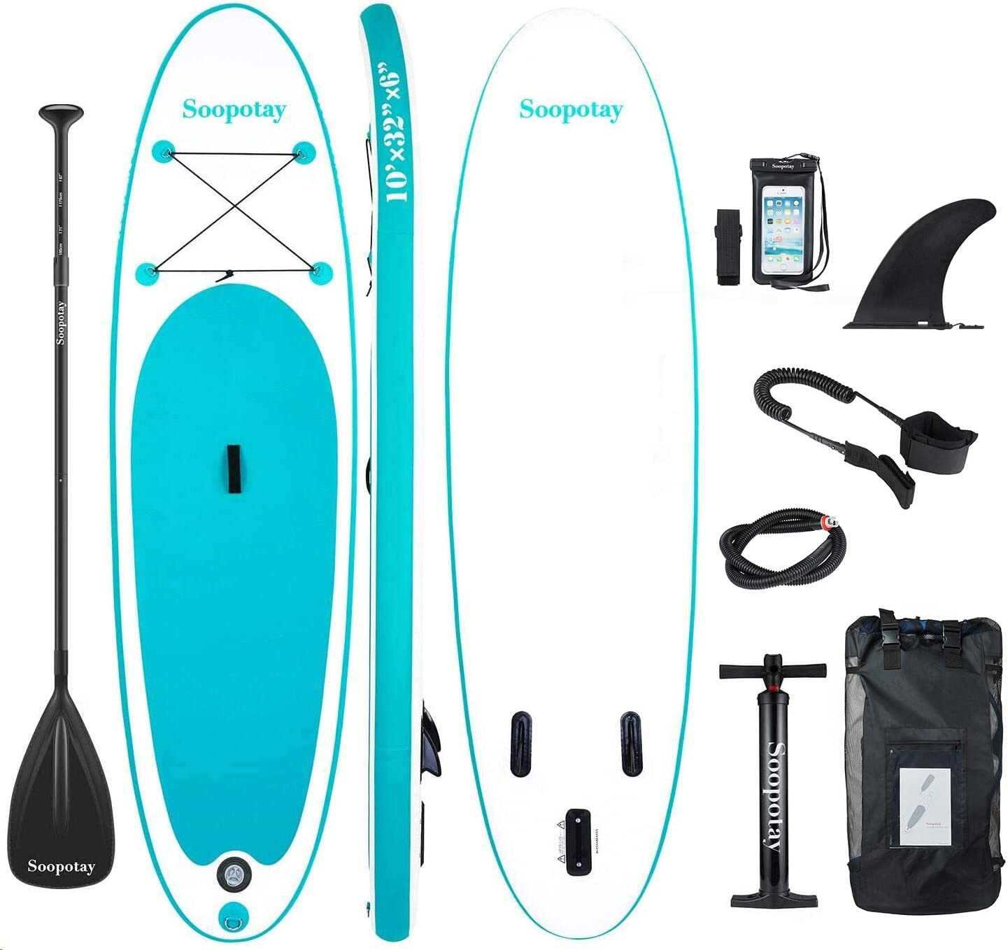 Soopotay Inflatable SUP Stand Up Paddle Board, Inflatable SUP Board, iSUP Package with All Accessories