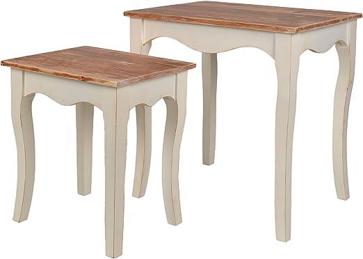 Juego de dos mesas comoda estantería mesa auxiliar de madera ...