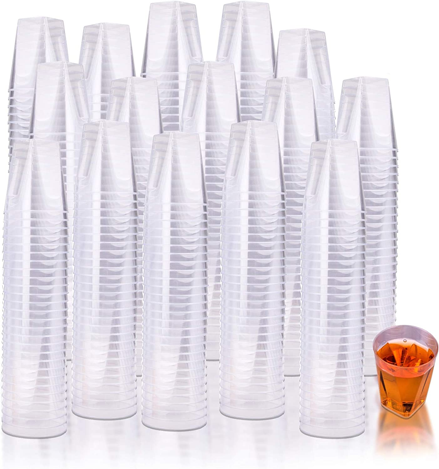 Fete Clear Hard Plastic Shot Glasses 400 Count 2 oz. Reusable and Disposable Shot Cups Perfect Party and Sampling Cups for Drinks, Tastings, Sauces, Dips, Finger Foods, Jelly Shooters 2oz. 400ct.