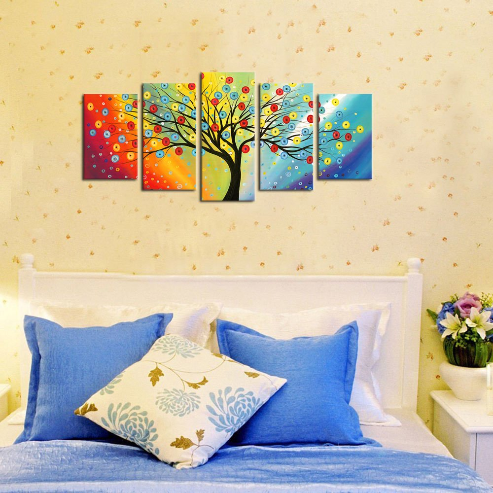 Amazon.com: Framed Wall Art Lucky Tree Painting Canvas Ready to Hang ...