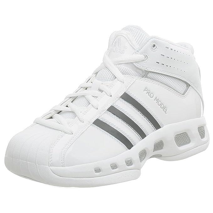 best service 00ba8 16e23 adidas Men s Pro Model Team Color Basketball Shoe,White White,8.5 M