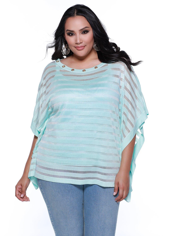 Belldini Women's plus size shadow stripe poncho with grommets at the neckline plus camisole - 1X - Viscose/Nylon