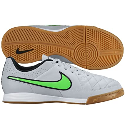 5af534a32 Amazon.com: Nike Youth Tiempo Genio Leather IC Indoor Soccer Shoes 3 US,  Wolf Grey/Black/Green: Everything Else