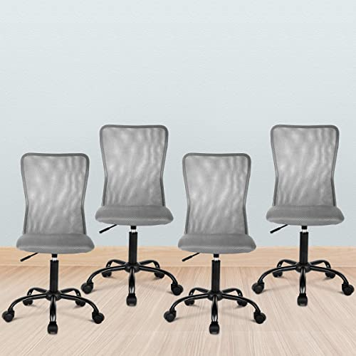 4 PCS Ergonomic Office Desk Chair Mid Mesh Office Chair
