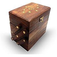 Boîte en bois Vintage Box Inlay design 3 compartiment Slide Open Box, boîtes à bijoux pour les femmes., Jour de Pâques / Fête des Mères / Good Friday Gift