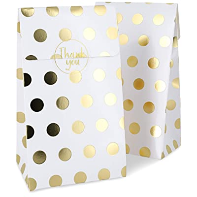 Party Favor Bags, White with Gold Foil Dots (24 Pack): Office Products
