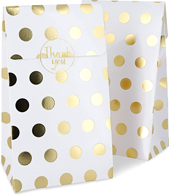 Bolsas de recuerdo para fiestas, color blanco con lunares dorados (24 unidades): Amazon.com.mx: Oficina y papelería