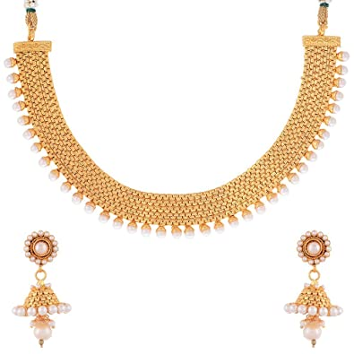 Buy Zeneme Bridal Wedding Jewellery Set Rhinestone Pearl Floral