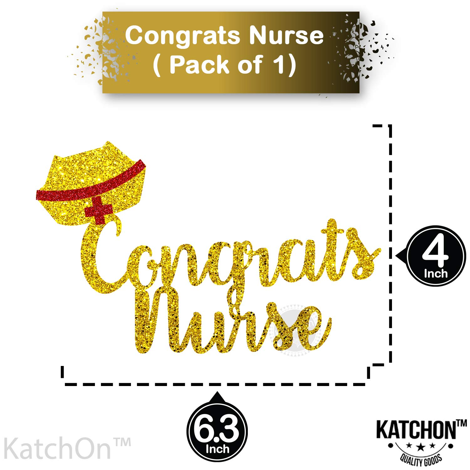 RN Nurse Party Decorations Real Glitter Nurse Graduation Party Decorations Gold and Red Large Size Nurse Theme Party Nursing Graduation Party Supplies 2019 Congrats Nurse Cake Topper