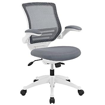 Amazoncom Modway Edge White Base Office Chair Grey Kitchen