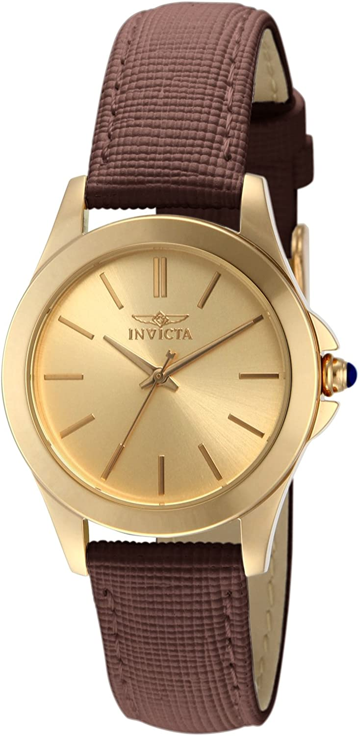 Invicta Women s 15150 Angel 18k Yellow Gold Ion-Plated Stainless Steel and Brown Leather Watch