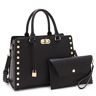 Amazon.com: Maya Karis Purse Designer Bag for Women, Twist-Lock Lady Satchel w/Pouch Teen Girl Summer Bag 7579 BK: Shoes