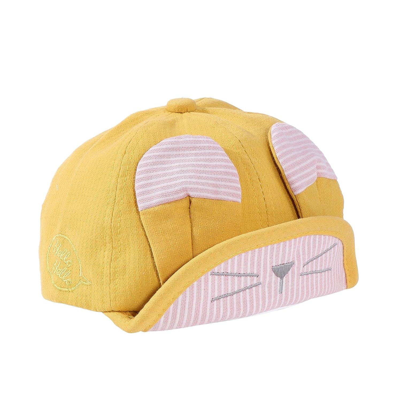 BESTOYARD Traje de sombrero redondo lindo Gorras ajustables Sombrero de gato de bordado de sol con oreja para niños Niños de bebé (amarillo)