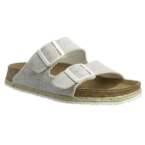 ec6506eb91a3 Papillio Womens by Birkenstock Arizona Beach Light Grey Fabric Sandals 37  EU  Amazon.ca  Shoes   Handbags