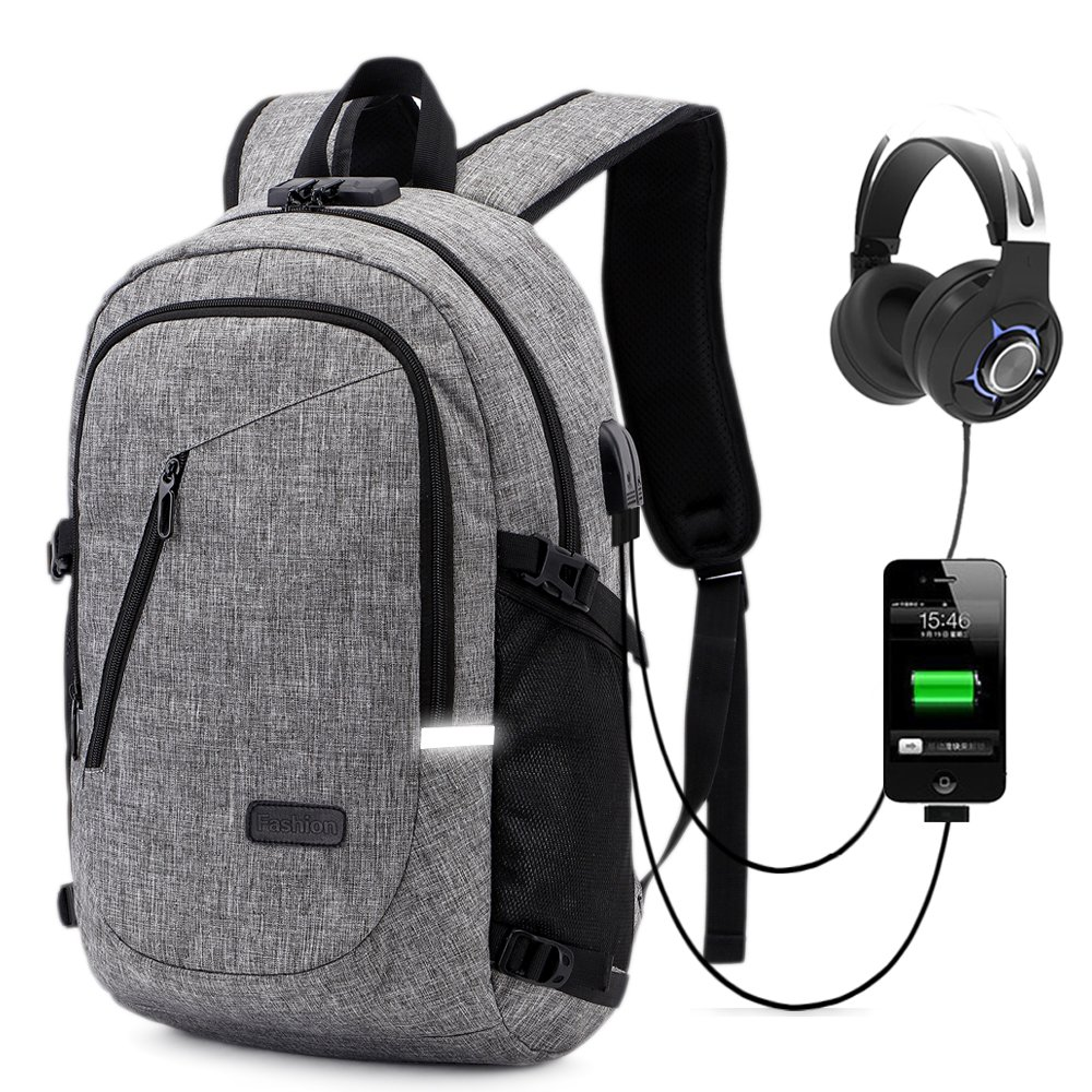 Business Laptop Backpack,School Bookbag,Travel Computer Backpack Water Resistant with Anti-theft Lock & USB Charging Port Fits 15.6 inch Laptop for Women & Men-Gray