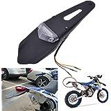KaTur‒Guardabarros trasero con luz trasera de freno LED para motocicleta de motocross, enduro (lente roja)