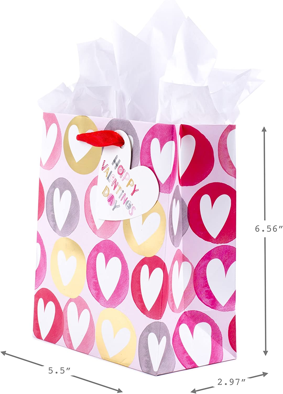 Heart In Dots On Pink Hallmark 6 Small Valentines Day Gift Bag with Tissue Paper