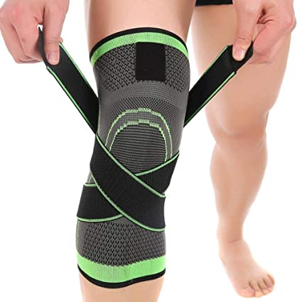 6fd9c72ca9 Amazon.com: Feileng Knee Brace, 1PC 3D Weaving Compression Breathable Knee  Sleeve Adjustable Strap Knee Support Running, Cycling, Tennis, Golf  Basketball: ...