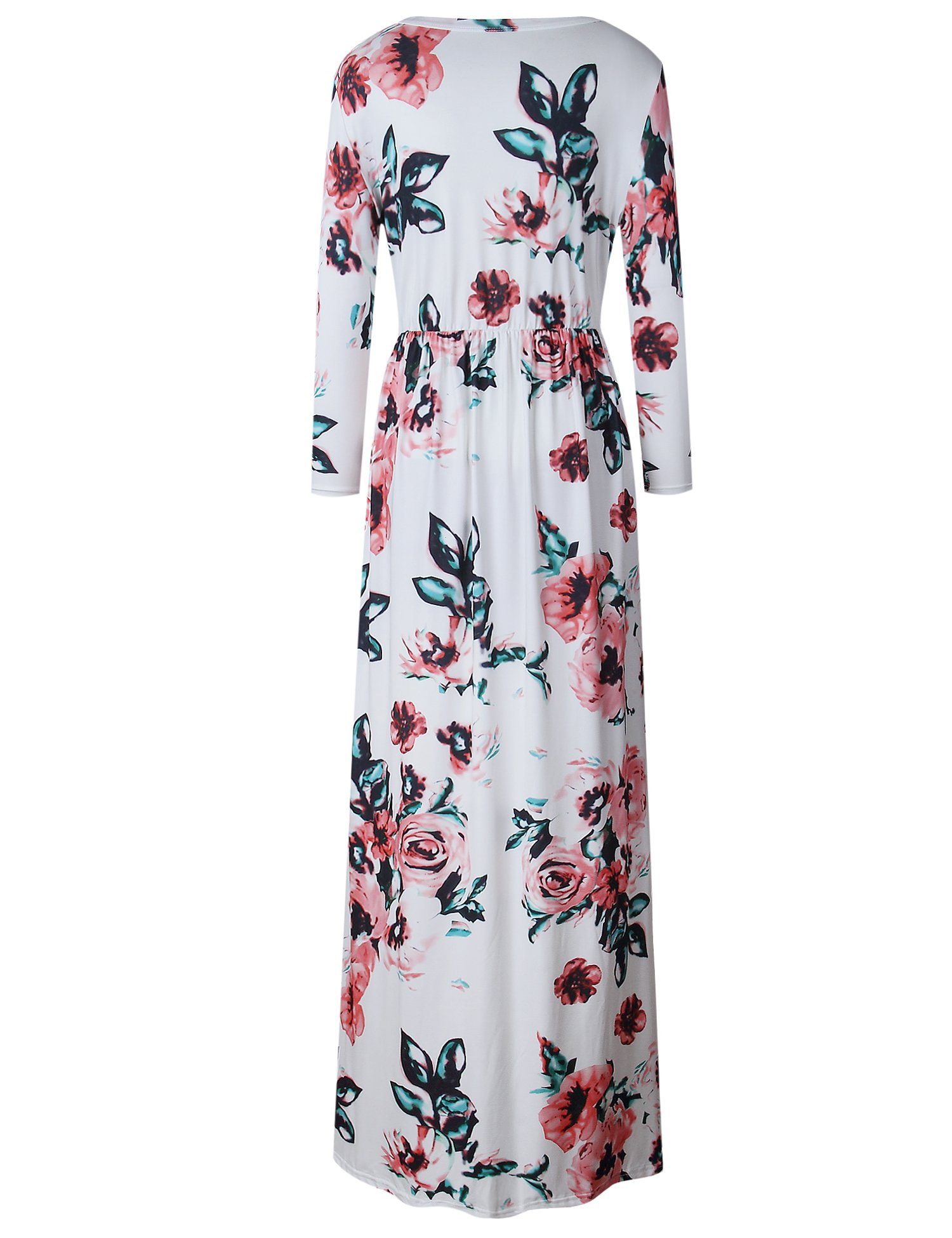 Murimia Women's Floral Print 3/4 Sleeve Empire Flower Maxi Casual Dress With Pocketed, White, Small by Murimia (Image #3)