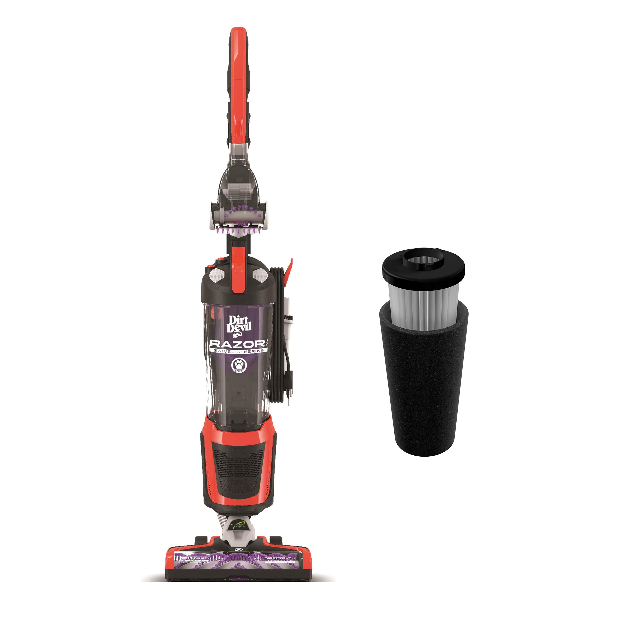 Dirt Devil Razor Pet Steerable Bagless Upright Vacuum with Dirt Devil Endura Filter, Odor Trapping Replacement Filter by Dirt Devil
