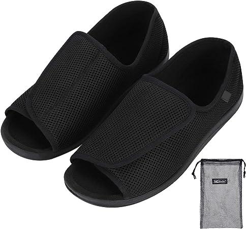 Hommes Chaussons Diabétiques Chaussure Orthopédique Réglable Pantoufles Intérieur Confortable Sandales Pied Large Chausson Fermeture Scratch pour
