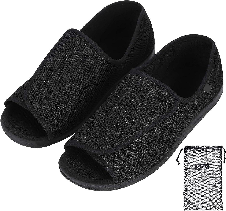 Zapatillas diálogas para hombre, ortopédicas ajustables, zapatillas interiores cómodas, sandalias de pie grande, con cierre de velcro para personas mayores, pies hinchados, artritis edema Swollen