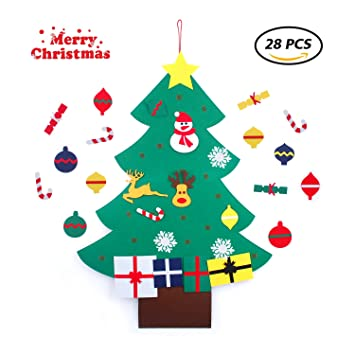 diy green felt christmas tree christmas tree felt with wall hanging ornaments for kids - Christmas Wall Hanging Decorations