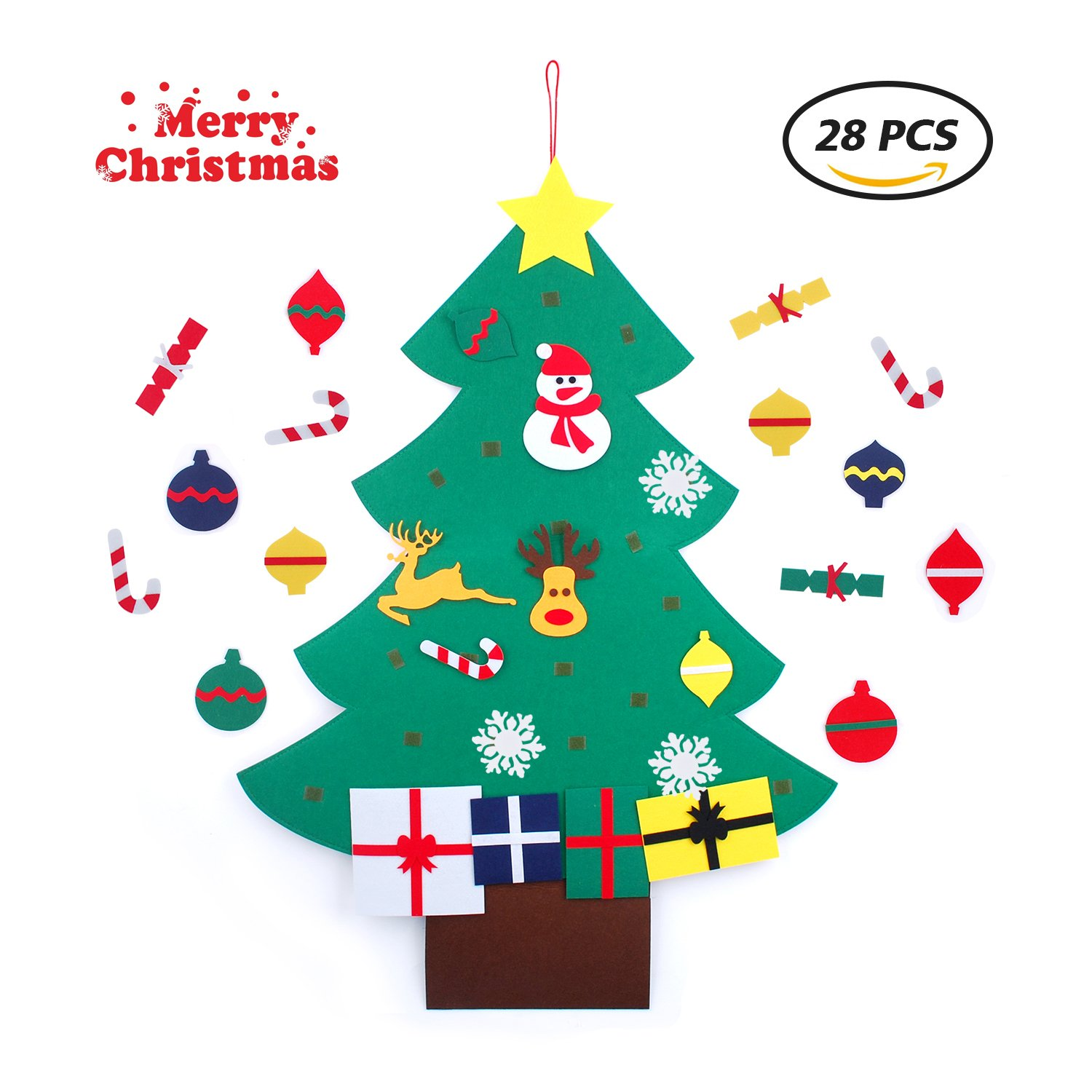 DIY Green Felt Christmas Tree, Christmas Tree Felt with Wall Hanging Ornaments for Kids, Toddlers- Christmas Decorations and Gifts (28 Pcs) (Multicolor)