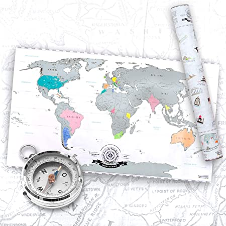 Scrape off world map deluxe personalized travel map wall scrape off world map deluxe personalized travel map wall decoration poster xxl silver gumiabroncs Choice Image