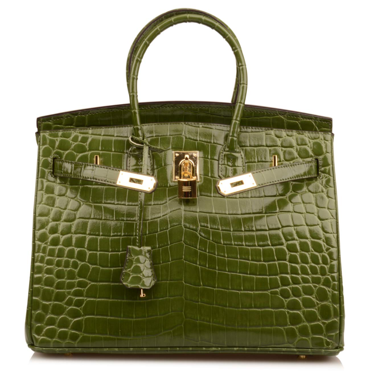 Qidell Women's Padlock Patent Leather Crocodile Embossed Handbag On Clearance (35 cm.Olive green)
