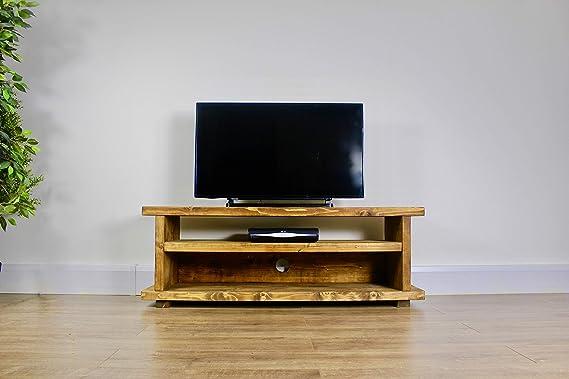 Madera Maciza de Roble rústico Hecho a Mano Pantalla panorámica Mueble para televisor. Acabado en un país Chunky (Norley) (180 cm, Roble Oscuro): Amazon.es: Electrónica