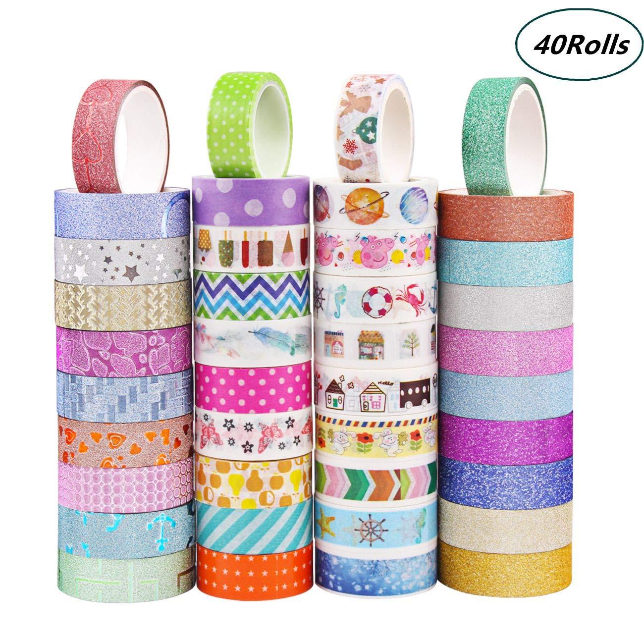 Lot 30 Rouleau Washi Tape, Ruban Adhésif Papier Décoratif Washi Masking tape pour Bricolage Scrapbook Artisanat Emballage Cadeau Fournitures de Bureau Candygirl TP-1