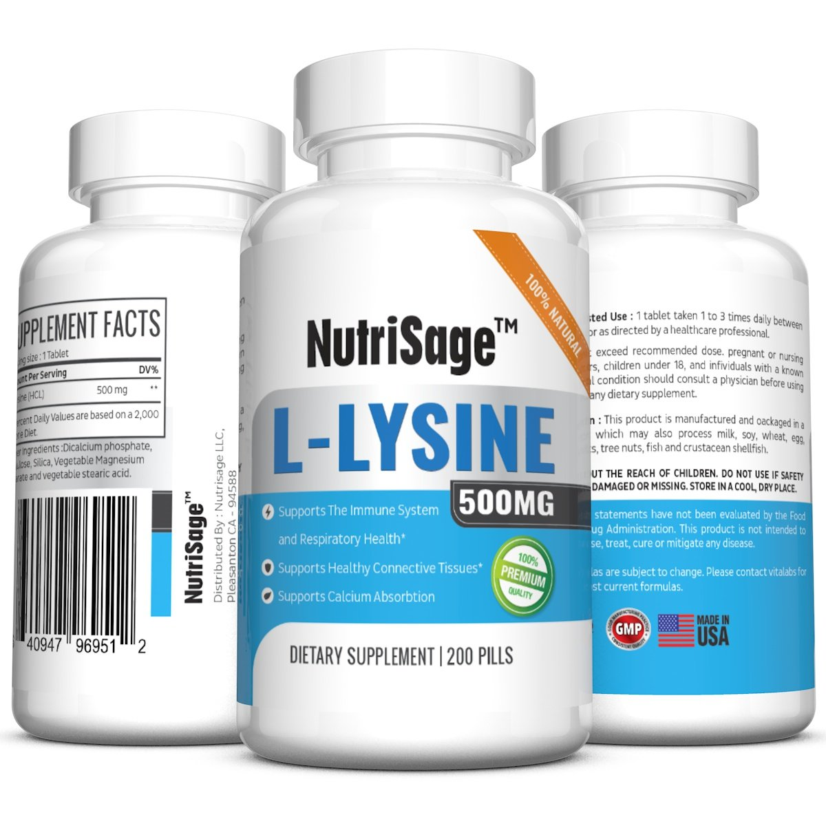 Premium Super L Lysine - 500mg Amino Acid Tablets For Cold Sore Care, Shingles, Immune Support & More - 200 Count Per Bottle