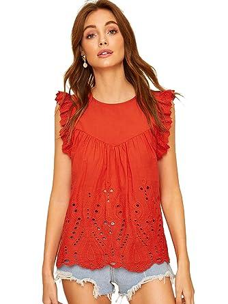 1bb4ae3afaf576 SheIn Women's Summer Cute Cut Scalloped Ruffle Sleeve Blouse Workwear Top  Shirts X-Small Red