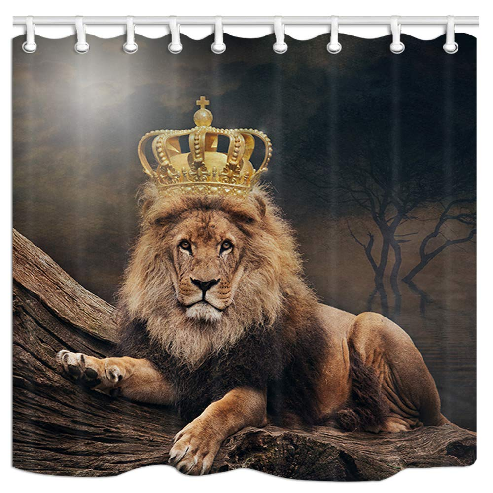 JAWO Animal Shower Curtain, Large Cat Lion with Crown Polyester Fabric Bathroom Bath Liner Set with Hooks 69x70inches by JAWO