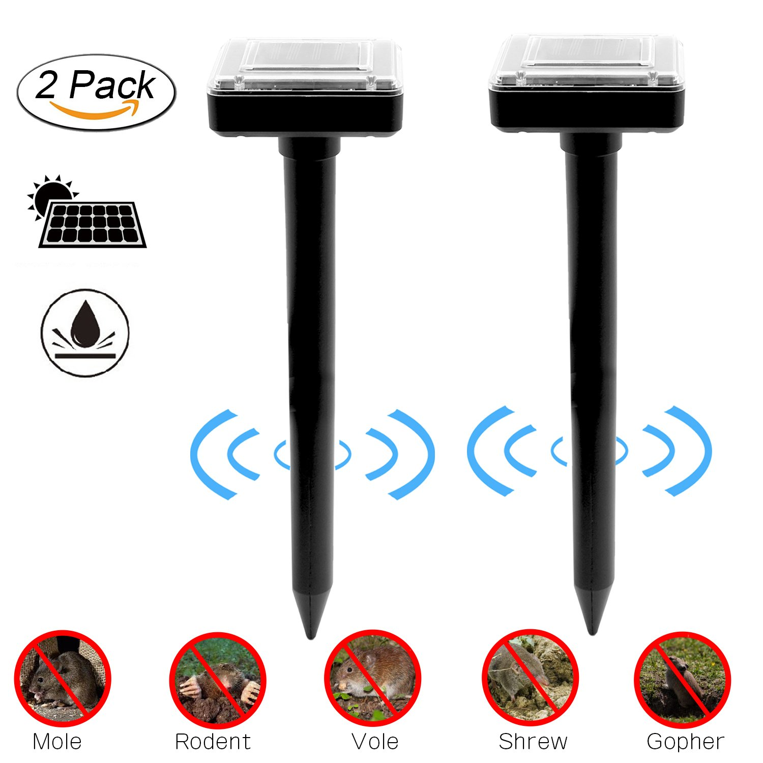 Fomei Ultrasonic Solar-Powered Mole Repellent Professional Mole Repeller Pest Deterrent Repelling Mole, Rodent, Vole, Shrew, Gopher, Snake for Outdoor Lawn Garden Yards Pest Control (2 Pack-Square)