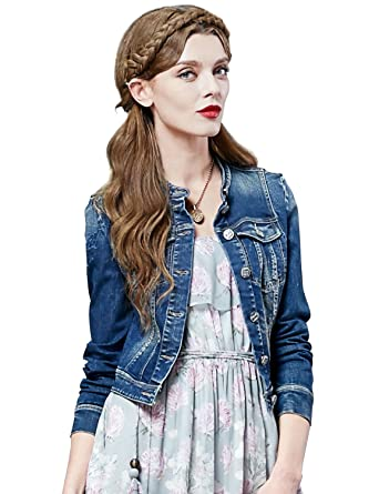 7bc6638e0fe Artka Women s Cropped Button Down Dark Denim Jean Jacket with Vintage  Embroidered Sleeves Medium