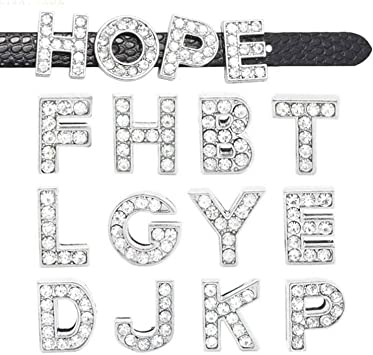 260pcs A-Z Full Rhinestones 8mm Slide Alphabet Letters for 8mm Slide Wristbands//Bracelets,Jewelry Making Charms