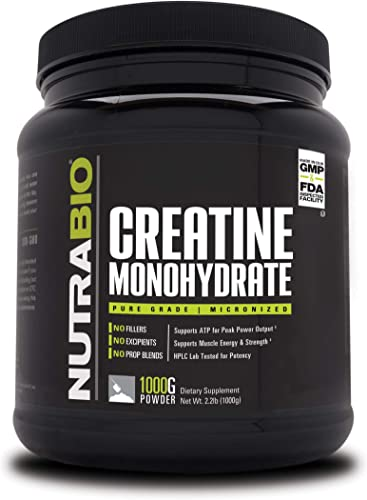 NutraBio Creatine Monohydrate 1000 Grams - Micronized, Unflavored, HPLC Tested