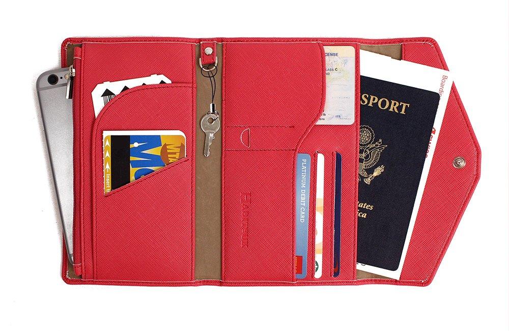 Portefeuille de voyage passeport à blocage RFID en cuir véritable - Organiseur de cartes (Noir)