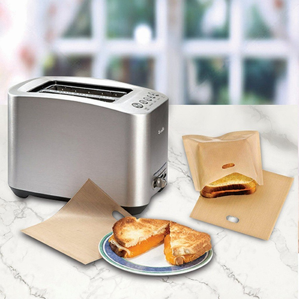 Toaster Bags 10-Pack Non-Stick Reusable Toast Oven Bags For Grilled Cheese Grilling Sandwiches Panani Toast Bread