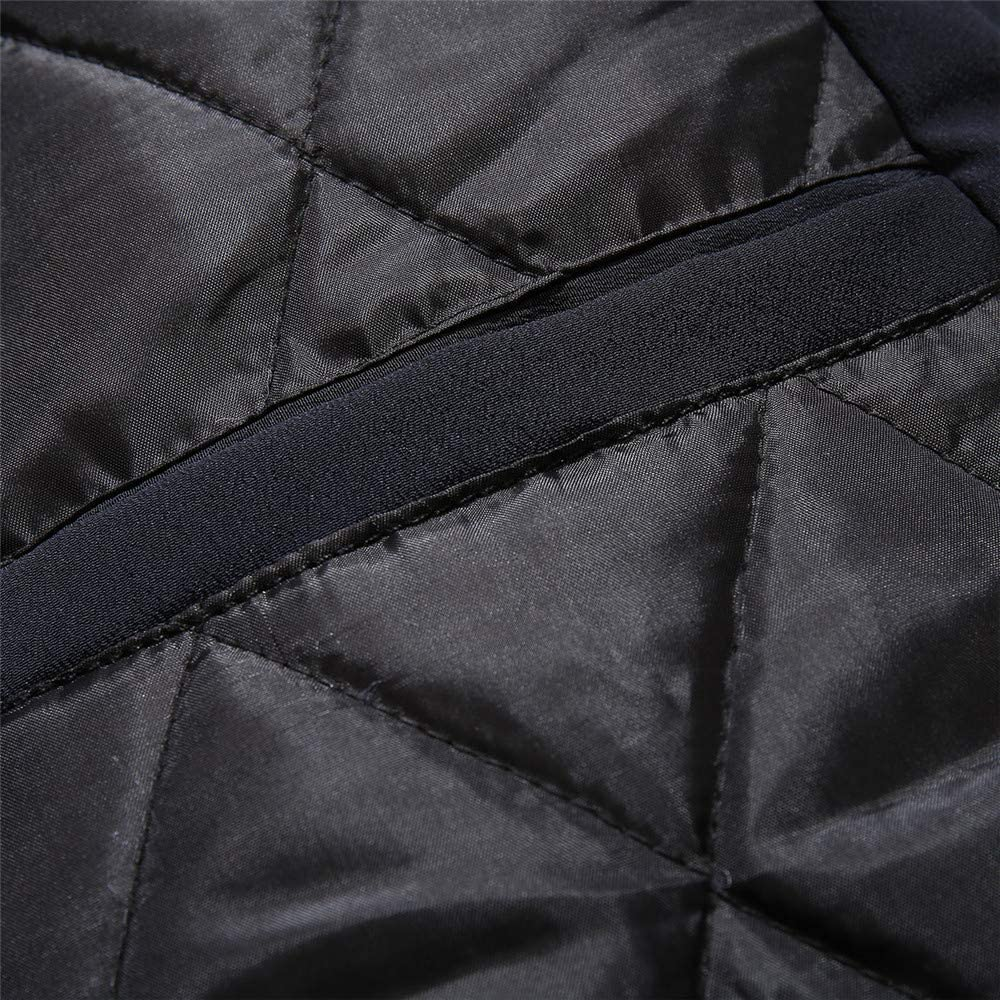 Men Fur Collar Winter Patchwork Pocket Thickening Zipper Coat Outwear