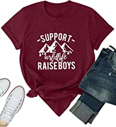 c980f1bae Nlife Women Support Wildlife RAISEBOYS Graphic Print T-Shirt Solid Color  Casual Tops Tee