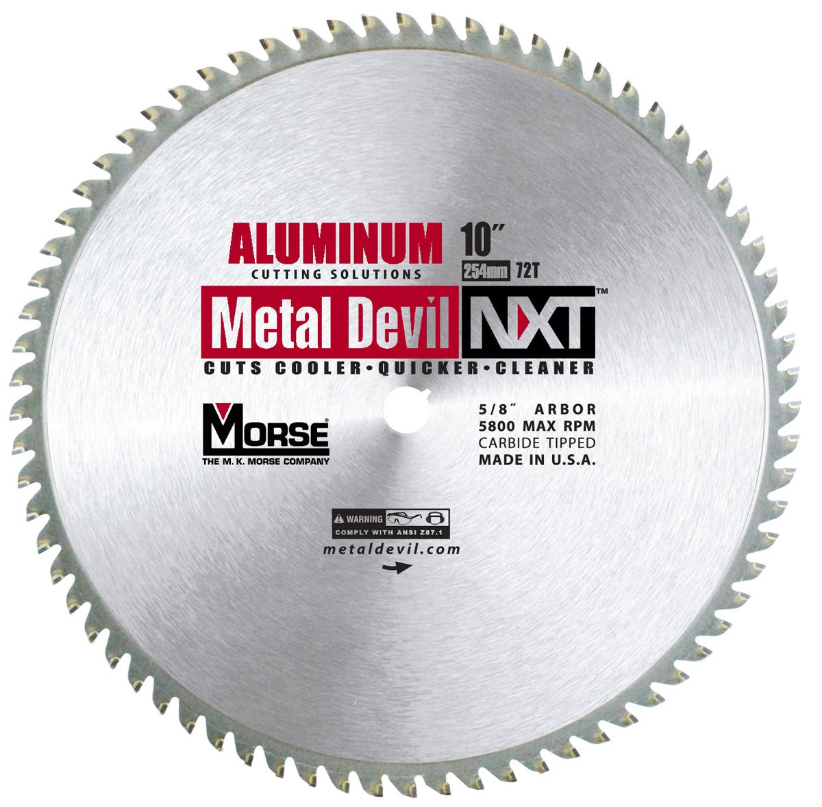 MK Morse CSM1072NAC Metal Devil Circular Saw Blade, Aluminum Application, 10-Inch Diameter, 72 TPI, 5/8-Inch Arbor