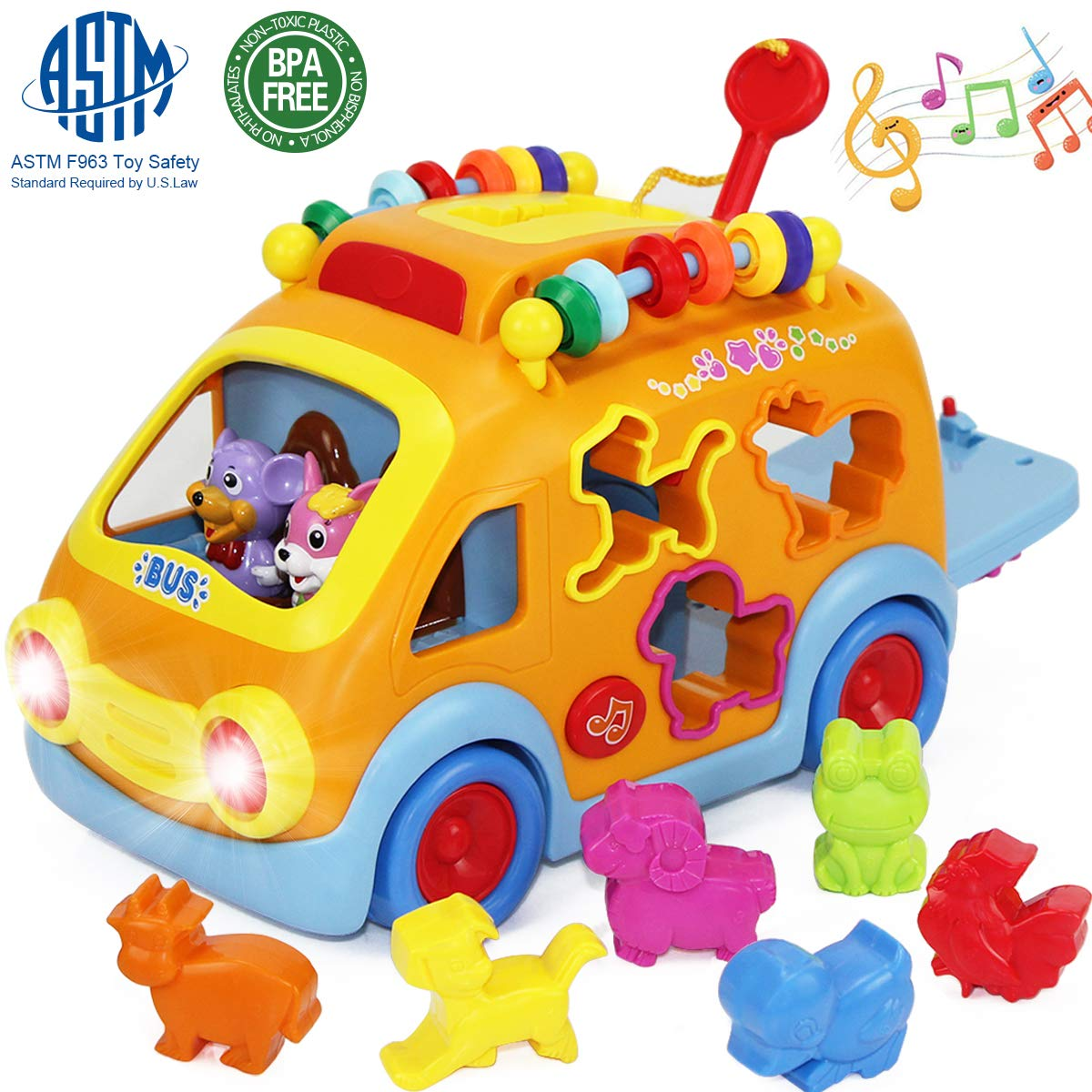 iPlay, iLearn Electronic Musical Bus, Baby Sensory Toy, 3D Animal Matching Car w/ Gear, Early Development, Learning, Educational Gift for Girls Boys Toddlers Kids by iPlay, iLearn