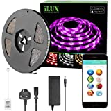 iLUX Bluetooth RGBW LED Smart Strip Light Kit, 5M 300 LEDs, Dimmable, Colour Changing, LED Tape for Home Party Christmas Decoration, 12V 3A Power Adapter Included